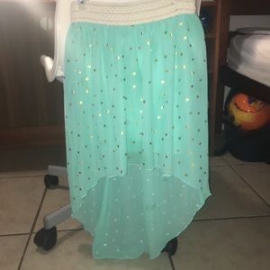 Other - Aqua skirt with gold dots 😍